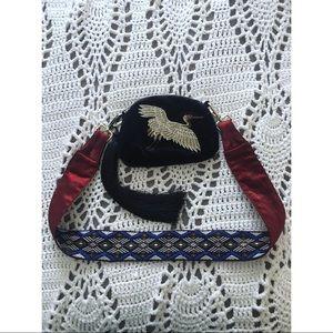 Handbags - Velvet embroidery tasseled crossbody bag